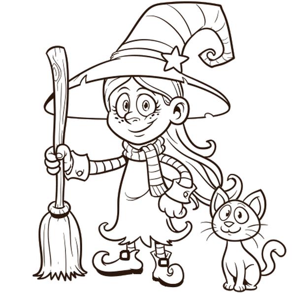 Coloriages Halloween - Enfant déguisée en sorcière