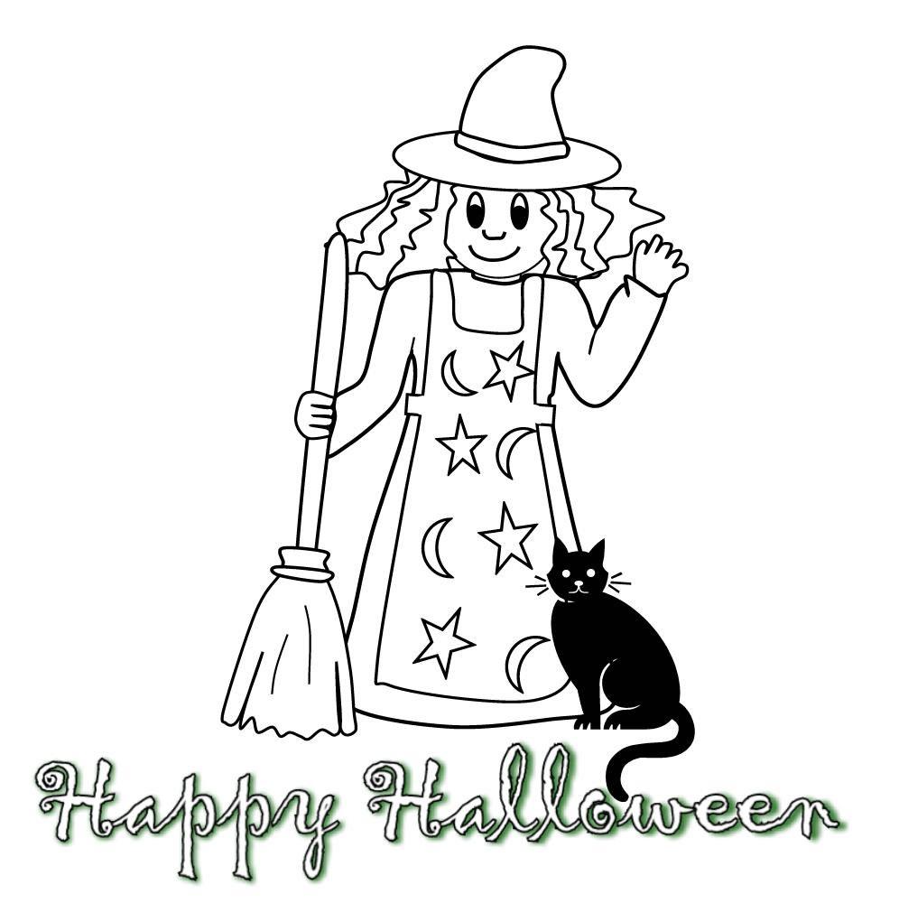 Coloriages Halloween - Gentille sorcière