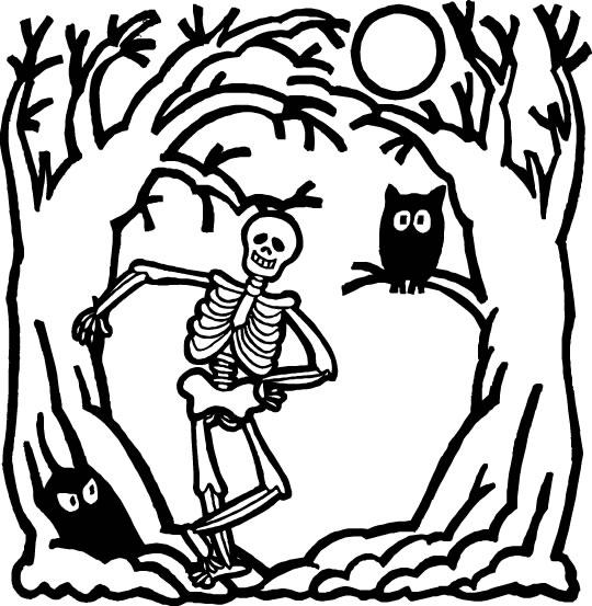 Coloriages Halloween - Squelette en forêt