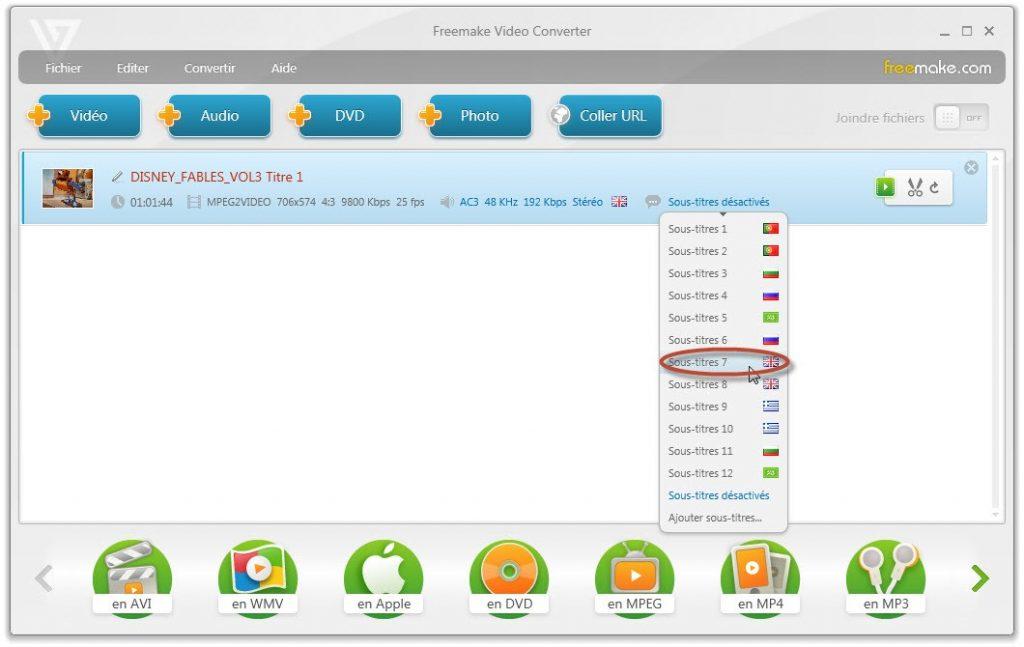 Freemake Video converter tutoriel et astuces - Ajouter des sous-titres