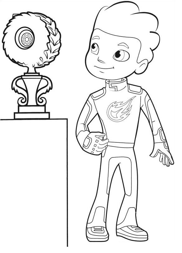 Coloriages Blaze et les Monster Machines - AJ remporte une coupe