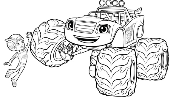 Coloriages Blaze et les Monster Machines - Blaze et AJ