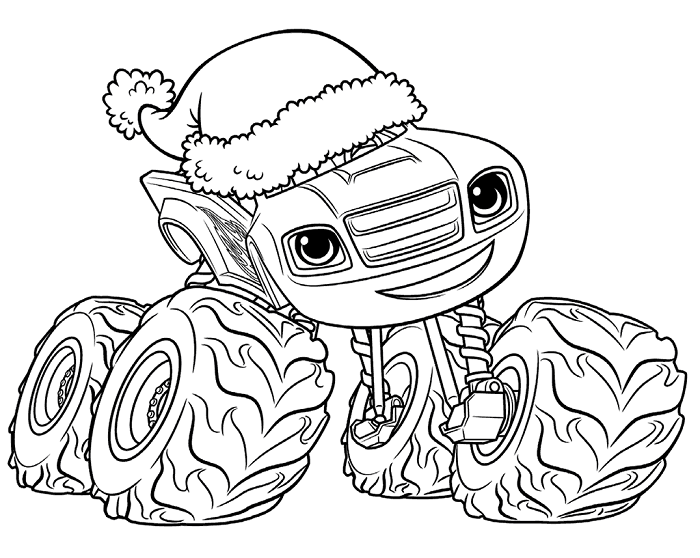 Coloriages Blaze et les Monster Machines - Blaze noel