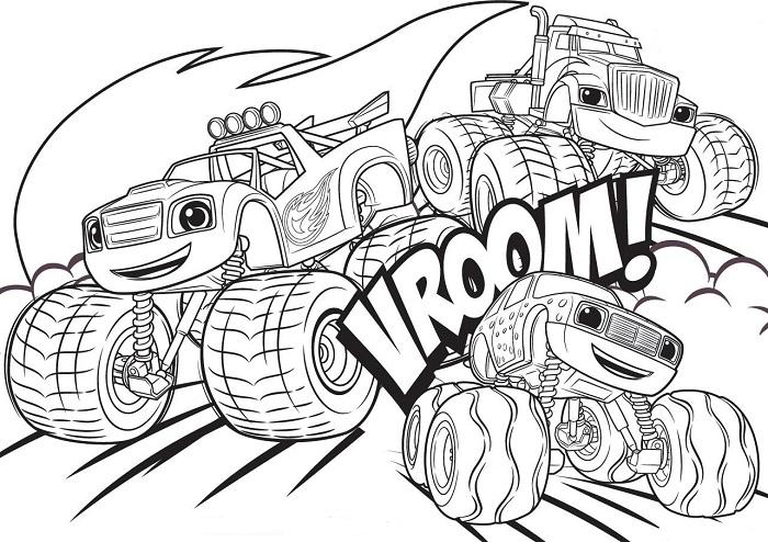 Coloriages Blaze et les Monster Machines - Plusieurs personnages