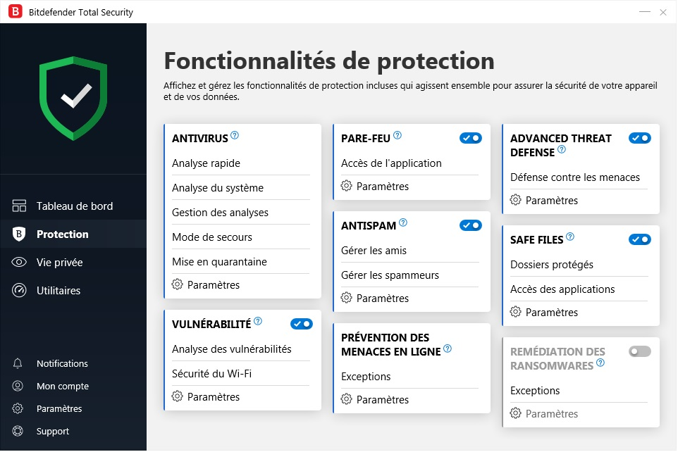 Interface Bitdefender - Protéger son ordinateur sur Internet