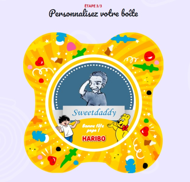 Boite bonbons personnalisée Haribo pour la fête des pères